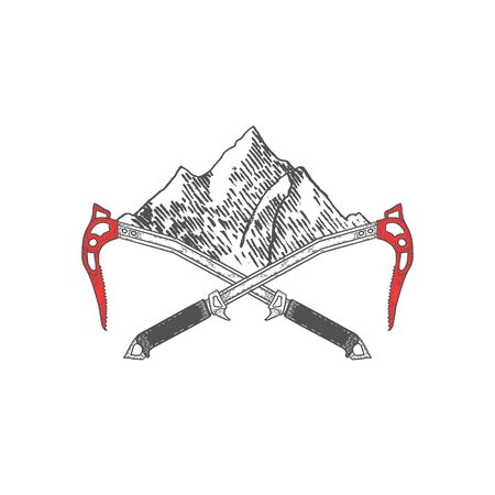 Hand Drawn Crossed Ice Axes with Mountains or Label. Mountaineering Tools. Vector
