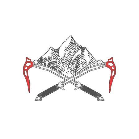 Handgezeichnete gekreuzte Eispickel mit Bergen oder Label. Bergsteigen Werkzeuge. Vektor Vektorgrafik