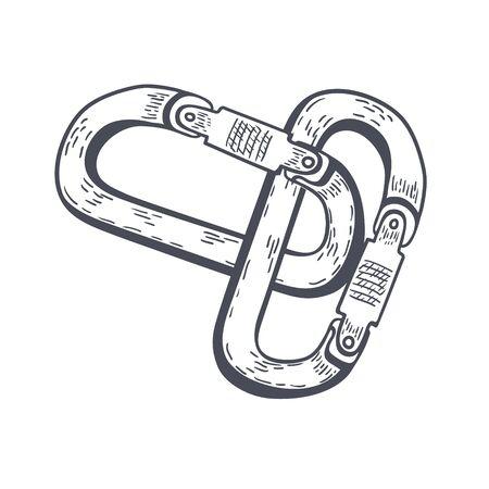 Climbing carabiners hand drawn outline doodle icon. Vector Ilustração