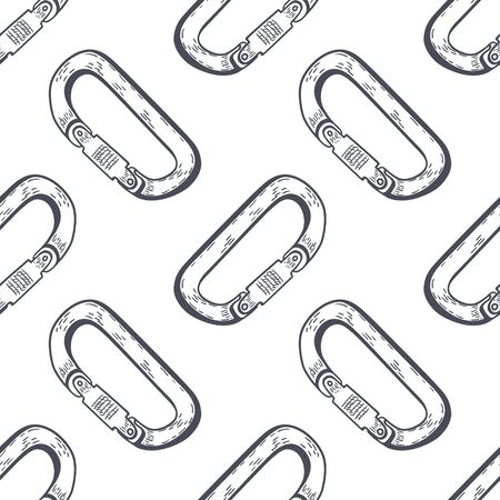 Climbing carabiner hand drawn outline doodle Seamless Pattern. Vector