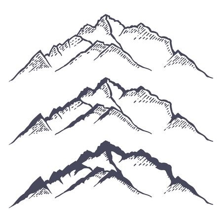 Mountain ridge or range hand drawn with contour lines on white background. Elegant vintage drawing of rocky cliff or mount. Monochrome Vector