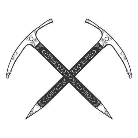 Hand Drawn Crossed Ice Axes. Mountaineering Tools. Vector