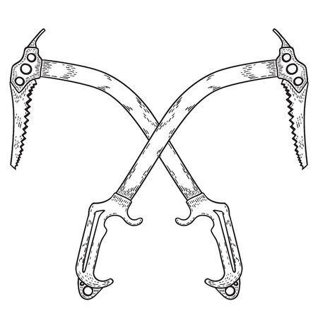 Hand Drawn Crossed Ice Axes or Label. Mountaineering Tools. Vector