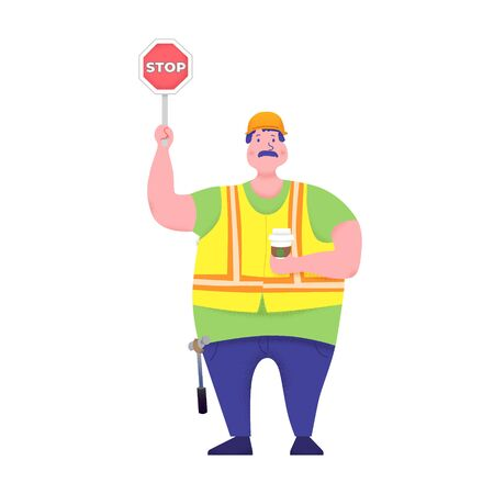 Cute happy industry or construction worker, engineer standing with Stop Sign and Coffee. Flat cartoon Vector illustration Illusztráció