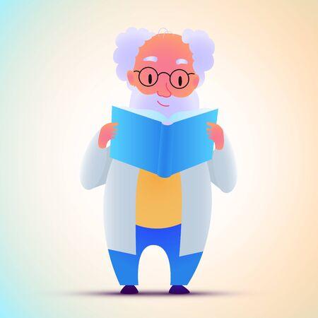 Vector modern flat design illustration on scientist reading the book. Human male holding book. Vector Ilustração