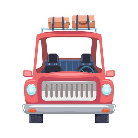 Car Travel Cartoon Flat Design with Luggage on top. Vector