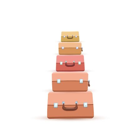 Stack of Suitcase or Luggages or handbags. Flat design style. Vector