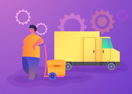 Vector modern flat design illustration Men with Lift trolley and Boxes. Delivery Service. Vector