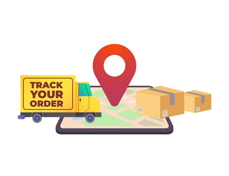 Online delivery service concept, online order tracking, concept for web landing page template, banner, flyer and presentation. Vector