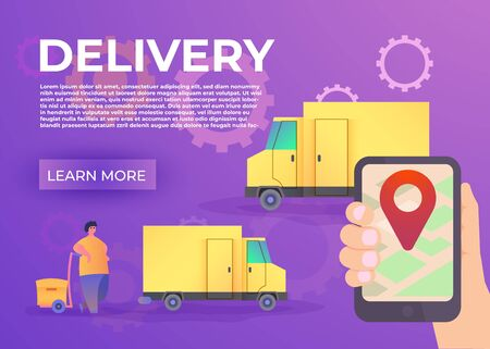 Hand holding mobile smart phone with app delivery tracking. Modern flat design creative info graphics on application. Vector