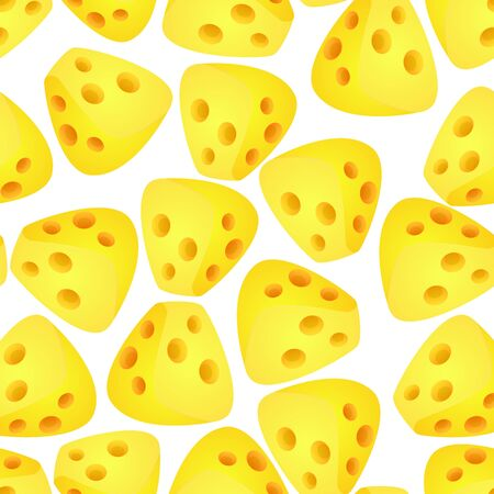 Cheese Flat Design Modern Style Colorful Seamless Pattern Background. Vector