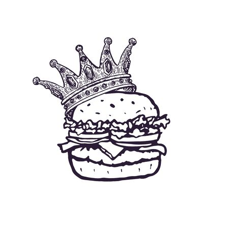 Burger with Crown Hand Drawn Fast Food . Vector