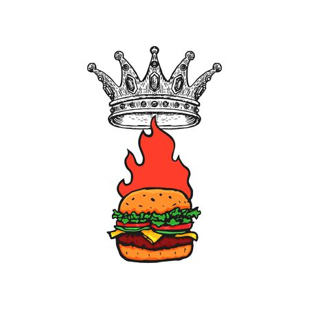 Burger with Crown and Flame Hand Drawn Fast Food . Vector