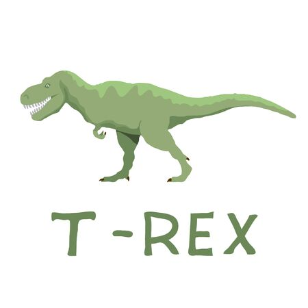T-rex Cartoon isolated on white Background. Vector