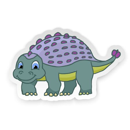 Cartoon Ankylosaurus Cute Little Baby Dinosaur Sticker. Vector