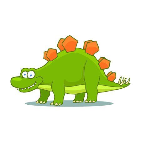 Cartoon Stegosaurus Cute Little Baby Dinosaur. Vector