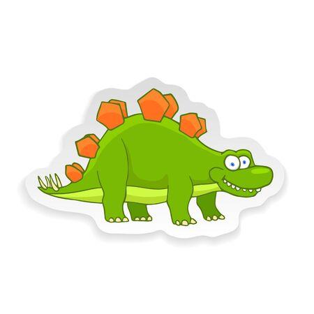 Cartoon Stegosaurus Cute Little Baby Dinosaur Sticker. Vector