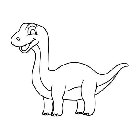 Cute Little Cartoon Baby Dinosaur - Diplodocus outline. Vector