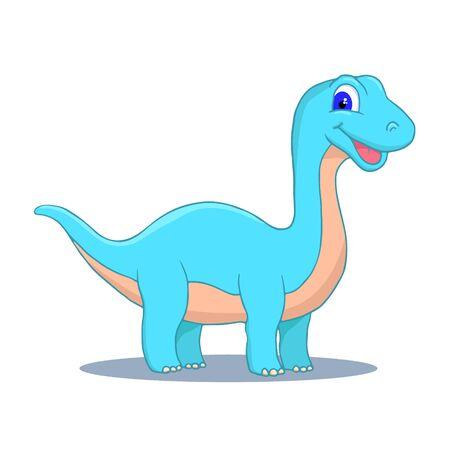 Cute Little Cartoon Baby Dinosaur - Diplodocus colorful. Vector