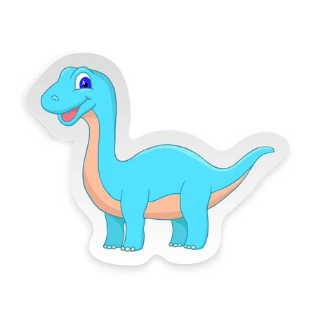 Cartoon Diplodocus Cute Little Baby Dinosaur Sticker. Vector