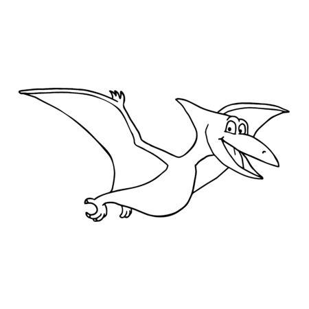 Cute Little Cartoon Baby Dinosaur - Pterodon outline. Vector illustration