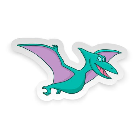 Cartoon Pterodon Cute Little Baby Dinosaur Sticker. Vector illustration