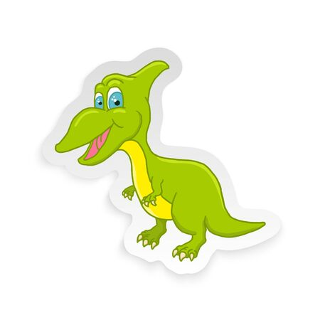 Cartoon Cute Little Baby Dinosaur Sticker. Vector