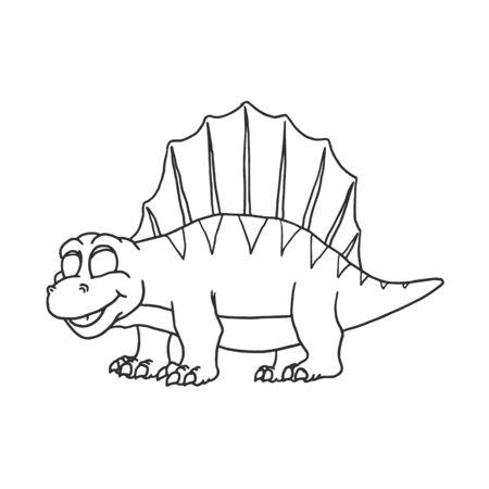 Cartoon Dimetrodon Cute Little Baby Dinosaur. Vector Ilustração