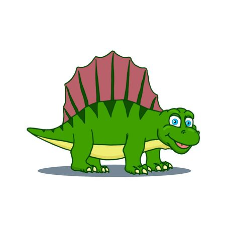 Cartoon Dimetrodon Cute Little Baby Dinosaur. Vector illustration
