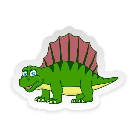 Cartoon Dimetrodon Cute Little Baby Dinosaur Sticker. Vector illustration