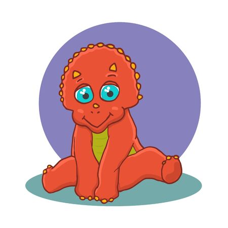Cartoon Triceratops Cute Little Baby Dinosaur. Vector illustration