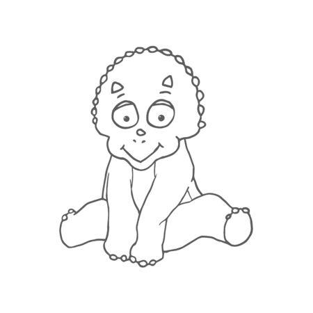 Cartoon Triceratops Cute Little Baby Dinosaur. Vector illustration