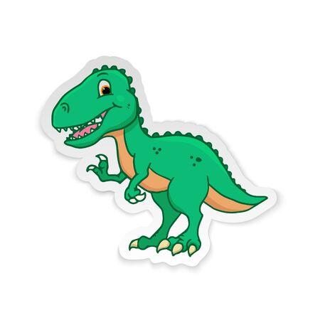 Cute Cartoon Dinosaur - T-rex tyrannosaurus rex. Vector illustration