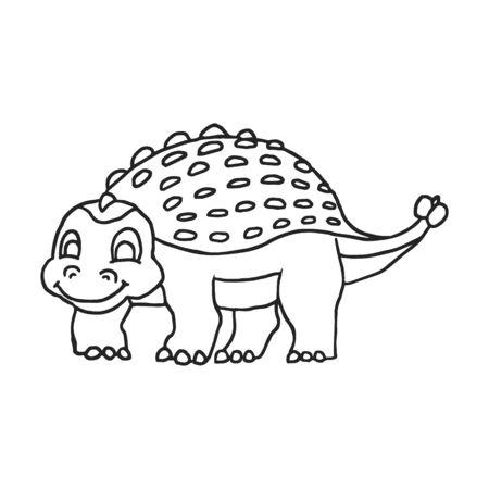 Cute Cartoon Dinosaur - Ankylosaurus outline. Vector illustration
