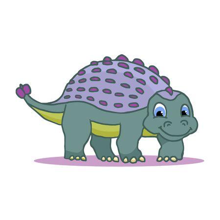 Cute Cartoon Dinosaur - Ankylosaurus colorful. Vector illustration