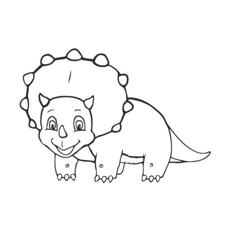 Cartoon Triceratops Cute Little Baby Dinosaur for Coloring Book and Education. Vector illustration