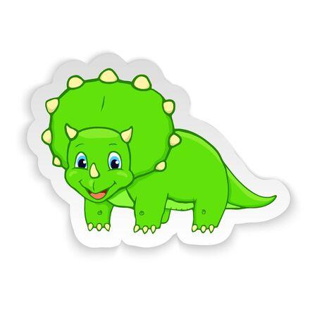 Cartoon Triceratops Cute Little Baby Dinosaur Sticker. Vector