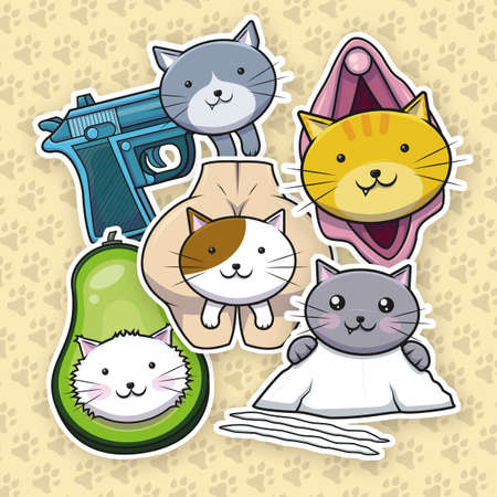 cat vectors out of context for stickers and free use