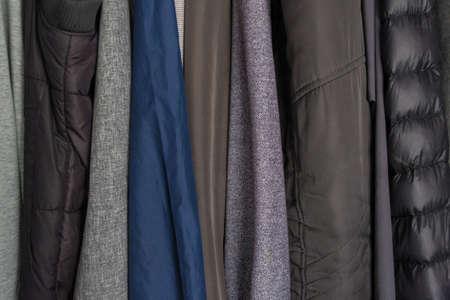 jackets, divers, clothes in wardrobe. Foto de archivo