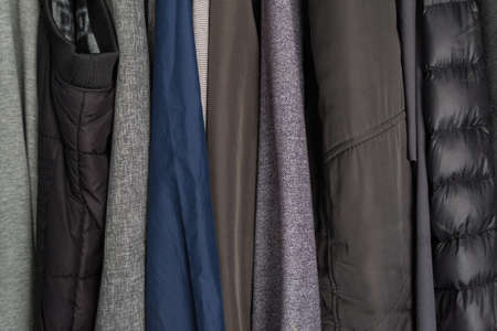 jackets, divers, clothes in wardrobe.