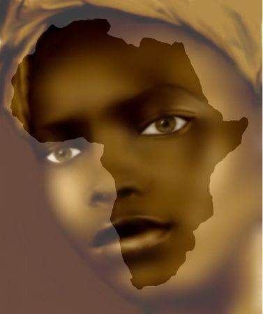 african culture: creative drawing image on the computer that remind me working over ten years in Africa as photographer