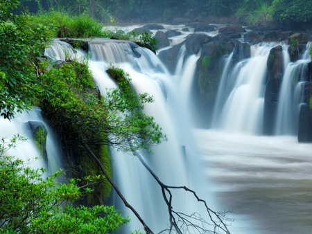 background waterfalls: Tad-Pa Suam waterfall  , Champasak province, Southern Laos.