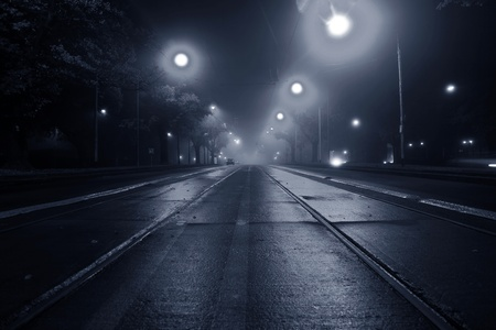 Fog on the street at night Stock Photo - 11413357