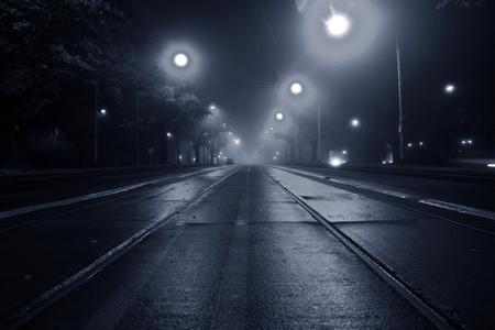 scary night: Fog on the street at night Stock Photo