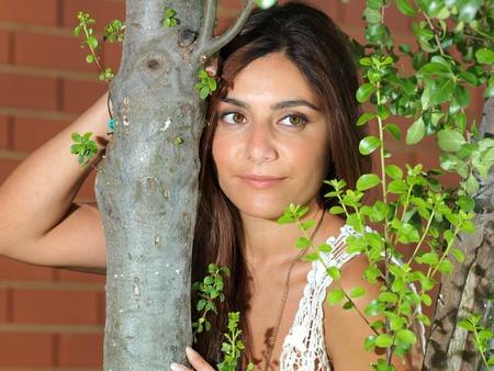 Women between  tree