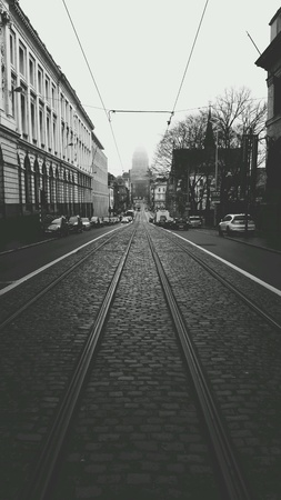 urban: Middle of a street tram line in Central Brussels Belgium
