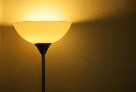 Retro bedroom lamp with yellow wall photo