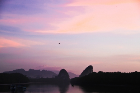 sunrise at still river Krabi town photo