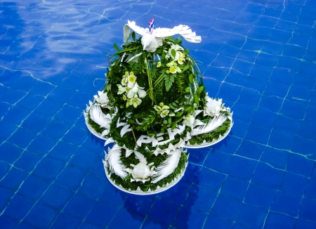 Flower decoration floating in the pool