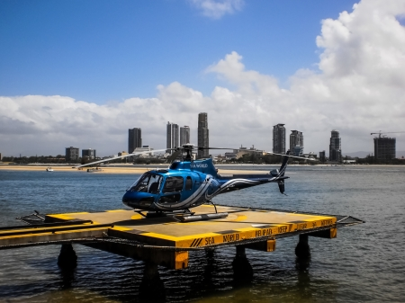 flight mode: Blue helicopter Editorial